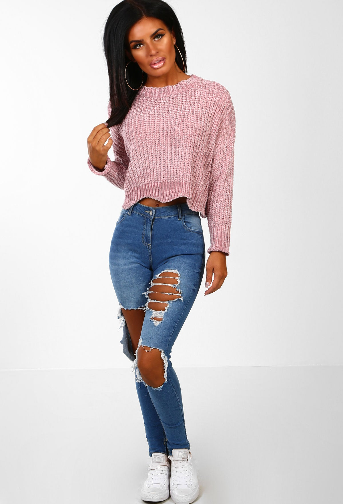 245dcbe30e85 Snugs N Kisses Blush Pink Chenille Knitted Cropped Jumper – Pink ...
