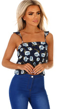 So Blooming Cute Navy Floral Frill Crop Top