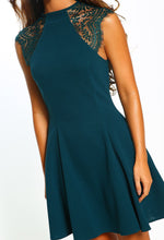 Green Lace Detail Skater Mini Dress