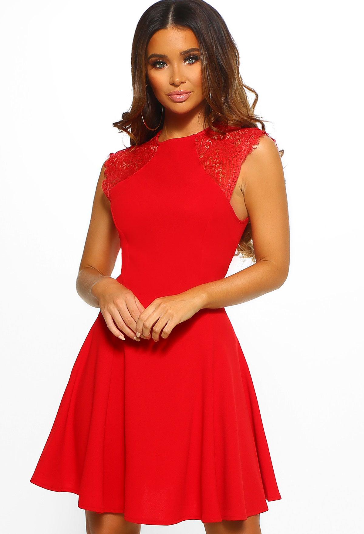 182141106d6 So Cute Red Lace Detail Skater Mini Dress – Pink Boutique UK