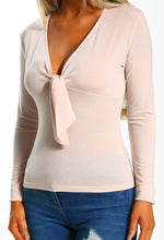 Nude Knot Front Long Sleeve Top - Close up view