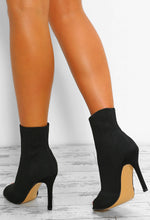 So Extra Black Knitted Peep Toe Stiletto Ankle Boots