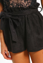 So Lavish Black Suedette High Waisted Shorts