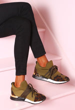 So Luxe Khaki Camo Print Trainers