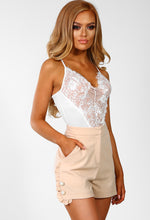 So Monroe Nude Frill Detail Pearl Button Tailored Shorts