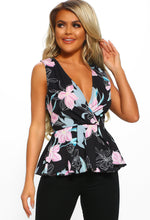 Black Multi Floral Peplum Wrap Top