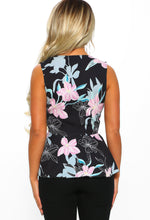 Black Multi Floral Peplum Wrap Top - Back view