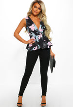 Black Multi Floral Peplum Wrap Top - Front view