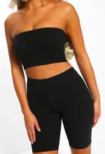 Sorry Not Sorry Black Bandeau Cycling Shorts Co-Ord
