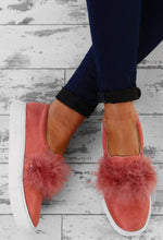 Soul Love Pink Faux Suede Feather Slip On Shoes