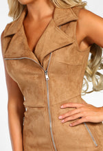 Soul Searching Tan Faux Suede Zip Front Blazer Mini Dress