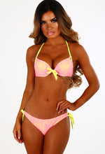 Sour Lemon Neon Yellow And Pink Lace Push Up Bikini