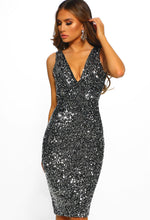 Sparkle All Night Silver Sequin Midi Dress