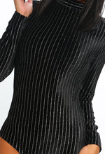 Sparkle Babe Black Lurex Stripe Velvet Bodysuit