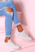 Sparkle N Slay Silver Diamante Glitter Trainers