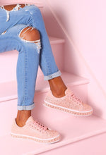 Sparkle N Slay Pink Diamante Glitter Trainers