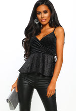Sparkle Queen Black Velvet Lurex Wrap Peplum Cami Top