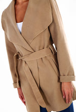 Spin Me Around Camel Wool Effect Wrap Coat