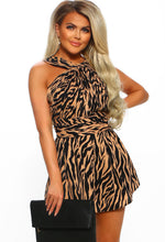 Spirit Animal Multi Tiger Print Halterneck Playsuit