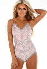 Spoken For Grey and Nude Lace Bodysuit