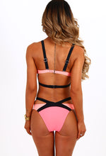 Sporty Sister Neon Pink And Black Strappy Cut Out Bikini