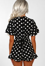 Spot On Black Polka Dot Frilly Wrap Playsuit