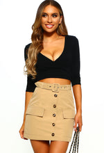 Stone Button Front Mini Skirt