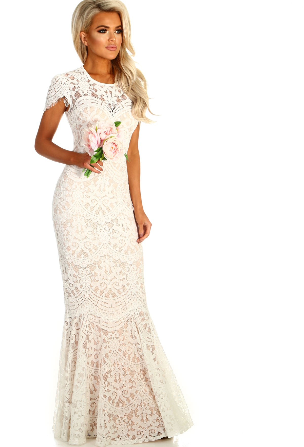 477ee9605e5 White Lace Fishtail Dress – All About The Dress A Bridal & Formal ...
