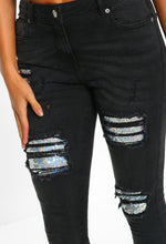 Starlight Charcoal Sequin Detail Ripped Skinny Jeans