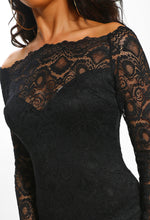 Black Lace Long Sleeve Bardot Dress