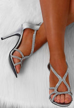 Sterling Silver Satin Diamante Embellished Stiletto Heel
