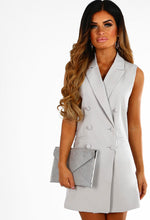 Strictly Business Grey Button Front Blazer Mini Dress
