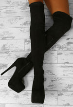 Strut The Runway Black Over The Knee Boots