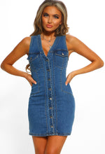 Style on Fleek Blue Denim Button Front Mini Dress
