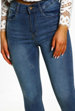 Blue Distressed Hem Jeans
