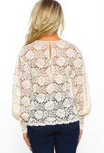 Subtle Romance Cream Sheer Lace Long Sleeve Top
