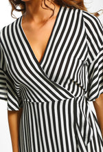 Successful Black and White Stripe Frill Wrap Mini Dress