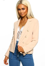 Suits You Nude Frill Detail Pearl Button Blazer