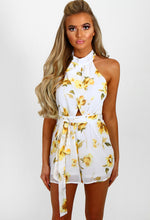 Summer Breeze White and Yellow Floral Chiffon Playsuit