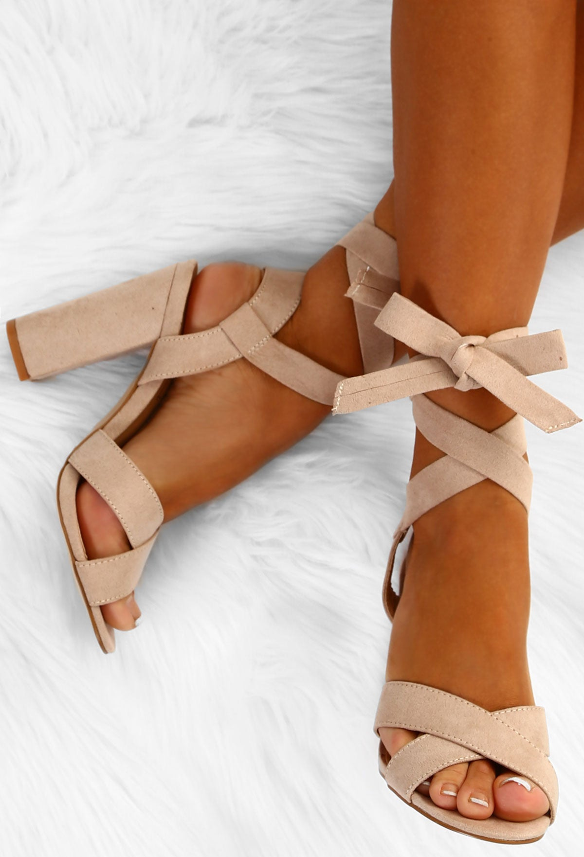 b6ece16e150 Summer Chic Nude Faux Suede Ankle Wrap Block Heels – Pink Boutique UK