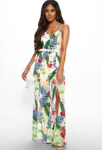 Tropical Print Split Leg Jumpsuit - Front with Accessory