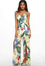 Tropical Print Split Leg Jumpsuit - Front