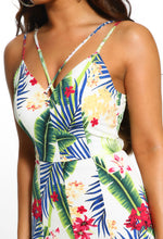 Tropical Print Split Leg Jumpsuit - Detail
