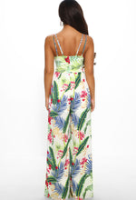 Tropical Print Split Leg Jumpsuit - Back