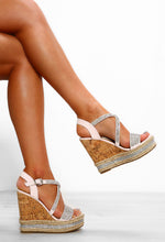 Blush Pink Diamante Wedges