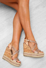 Rose Gold Diamante Strappy Wedges