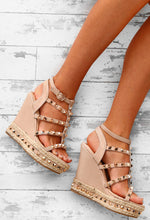 Summer Tease Nude Studded Strappy Wedges