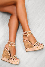 Nude Strappy Wedges