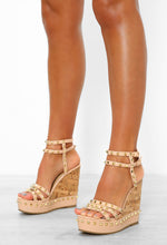 Sunkissed Barbie Nude Studded Strappy Wedges
