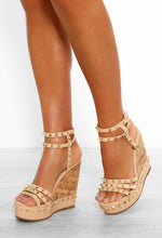 Nude Studded Strappy Wedges
